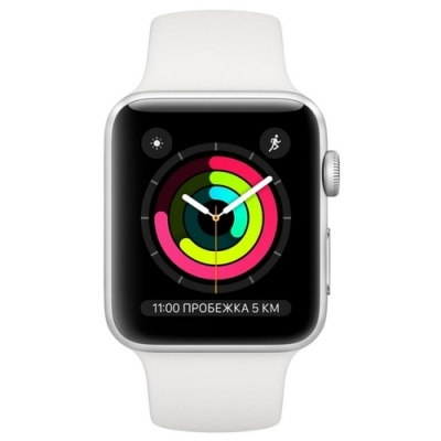 Apple Watch Series 3 42mm Silver Aluminum Case with White Sport Band (серебристый/белый) MTF22 в Mobile Butik